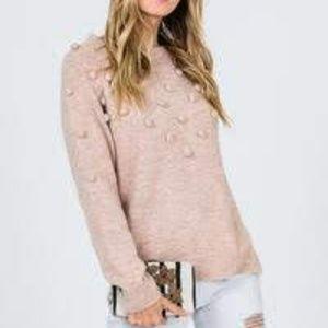 Kayla's Armoire Blush Pom-pom Sweater Sz M/L